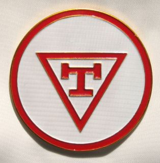 Triple Tau Masonic Auto Emblem Red and White Decal