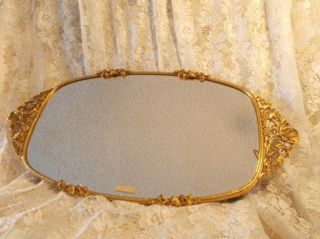 VINTAGE MATSON 24k Gold Plated VANITY MIRROR TRAY Ornate Anemone