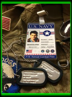 Top Gun Movie Prop Fancy Dress Stamped Dog Tags I Ds Bag Luggage Tags