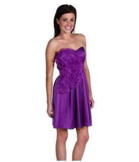 Max and Cleo by BCBG PURPLE Organza Rosette Ruffle Strapless Dress SZ