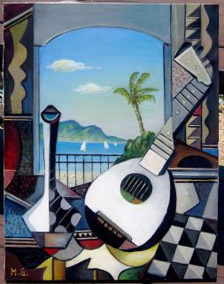 MAURICE GREEN ORIGINAL PAINTING LISTED ARTIST MANDOLIN PICASSO STYLE