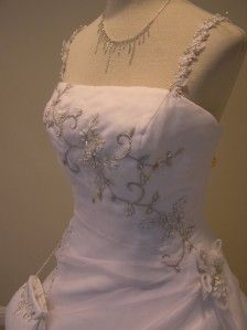 BRAND NWT P.C.Marys wedding dress bridal gown WHiTE organza size 12 w