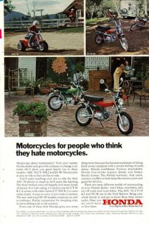 1973 COLOR HONDA ATC MOTORCYCLE AD MOTORCYCLES FOR PEOPLE WHO HATE