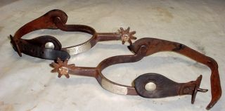 Antique Signed McChesney Iron Silver Mounted Cowboy Western Spurs