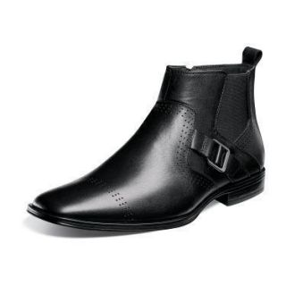 Stacy Adams Mens Mason Plain Toe Ankle Boots Black Leather 24763 001
