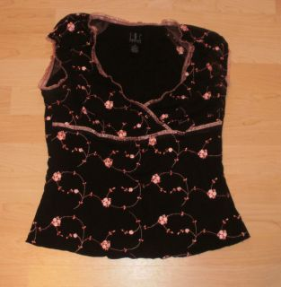 Womens Top Shirt Inc Brown Pink Embroidered Floral Stretchy Size M
