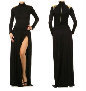 Spike Studded Shoulder Turtleneck Double Slit Long Maxi Dress