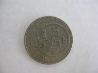 Vintage 1981 Mexican Coin Cultura Maya Half Dollar Size