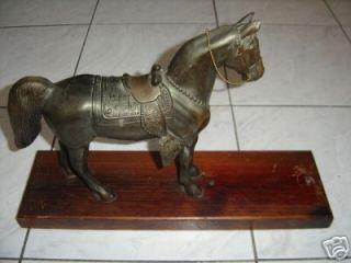 Old Vintage Cast Metal Horse Figurine Mounted 11 5 x 10