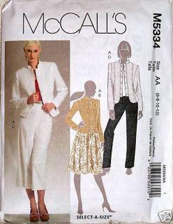 McCall Pattern 5334 Misses Petite Basic Wardrobe Jacket Skirt Pants