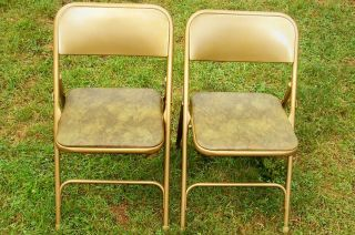 Vintage Samsonite Folding Chairs Model No. 1817 0974   Green Padded
