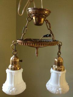 Vintage Antique Pan Chandelier Light Fixture 2 Arm Colonial Period