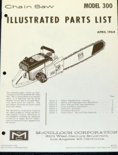 McCulloch 300 Chain Saw Parts List Parts Manual IPL
