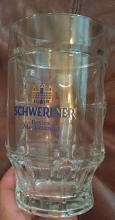 Schweriner Bestes Mecklenburg Beer Stein Mug Glass 6 Tall Cup Germany