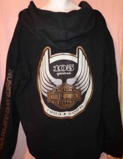 NEW MENS HARLEY DAVIDSON 105th ANNIVERSARY FULL ZIP HOODIE JACKET Sz