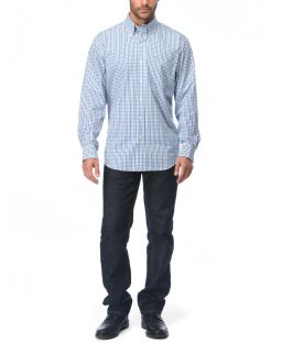 IZOD Long Sleeved Button Down Gingham Plaid Shirt