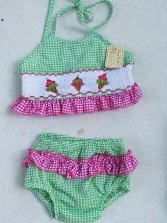 Smocked Swimsuit 2pc Bikini Baby Toddler Girls Bathing Suit 12M 18M 2T