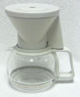 Melitta 4 Cup Coffee Maker Carafe Filter Cup Cone Pot Decanter White