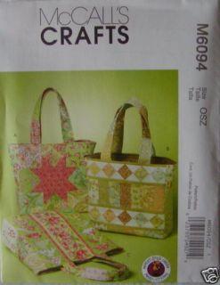 McCalls Pattern 6094 Quilt Tote Bag Handbag Purse New