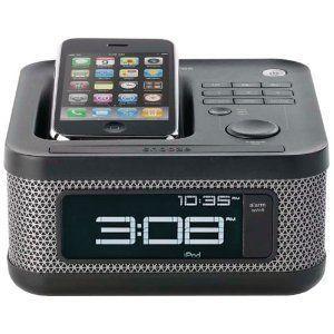 Memorex MI4604P Mini Alarm Clock Radio for iPod and iPhone Black
