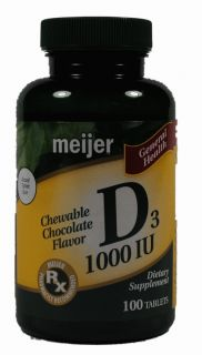 Meijer D3 1000 IU Dietary Supplement Vitamins 100 Tablets