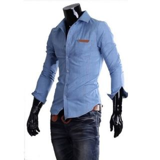 Mens Jeans Shirt Slim Fit Casual Sexy Cotton Dress Long Sleeve 2