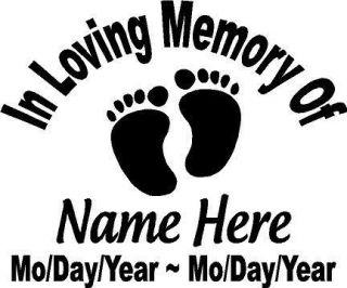 of Child Baby Feet Decal Window Sticker Custom Memorial Car
