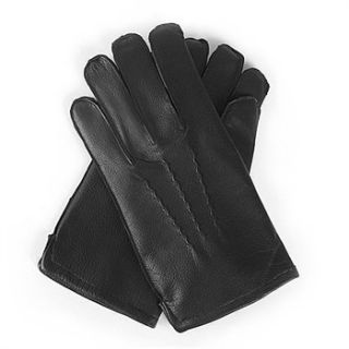 Black Leather Mens Fleece Lined Winter Gloves Small
