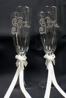 Maid of Honor Bes Man Wedding Champagne oasing Glasses Favor Gif