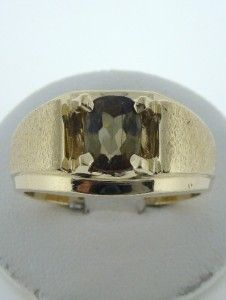 14k Gold Mens Olive Green Peridot 8x6mm Ring 10g 12mm