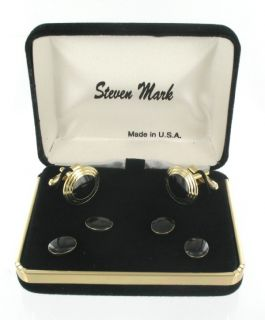 Steven Mark Cufflinks Mens Tuxedo Stud Set Black Oval Cuff Links