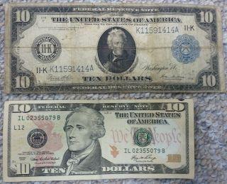 1914 US 10 DOLLAR BILL Dallas Federal Reseve Note PAPER MONEY Mellon