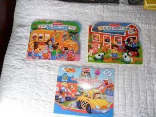 LOT of 3 Fisher Price KIDS BOOKS Little People LIFT THE FLAP Farm Cars