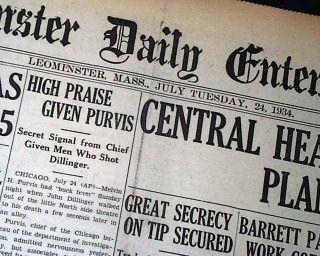 Assassination Shot in Chicago Melvin Purvis 1934 Newspaper
