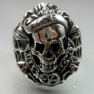 Heavy Love Kills Slowly Stainless Steel Skull Mens Ring