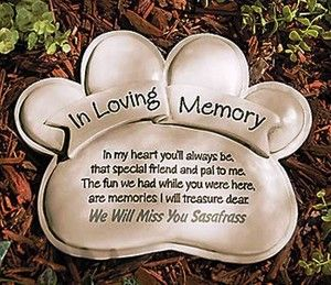 Personalized Pet Memorial Paw Print Garden Stone New