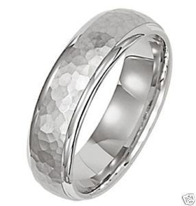 950 Platinum Mens Wedding Band Ring Hammered 6mm
