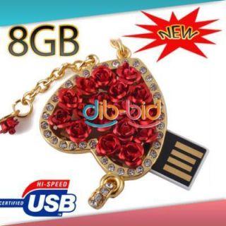 USB 8GB Rose Heart Design Jewelry Memory Stick USB 2 0 Flash Drive 8GB