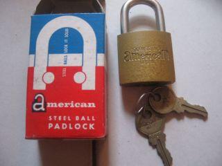 Vintage American Steel Ball Padlock High Security AC20