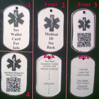 Personalized Medical Alert ID Dog Tag 4 Choices Free Online Medical
