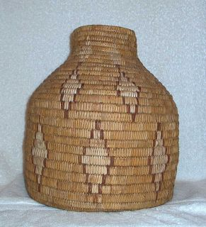 Very Large Fine Antique Apache Mescalero Basket Olla Unusual Shape