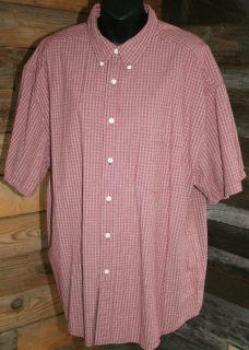 Mens Button Down Short Sleeve Cotton Shirt by Eddie Bauer Size XL Red