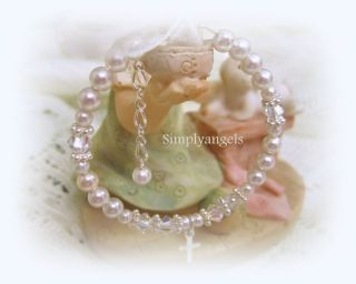 Simplyangels Swarovski pearl crystal newborn baby girl baptism cross