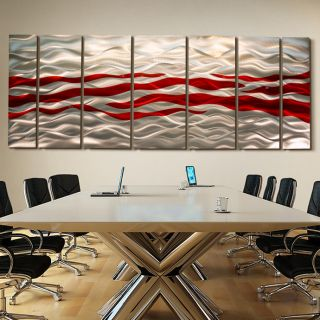 Corporate Metal Wall Art Decor Silver Red Caliente XL
