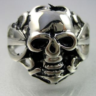 Biker Mens Black Silver Stainless Steel Skull Hollowed Ring