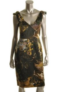 Elie Tahari New Meredith Green Printed Double V Cocktail Evening Dress