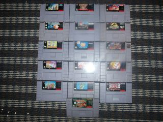 Lot of 16 SNES Games Donkey Kong Country Super Mario Cart World Bubsy