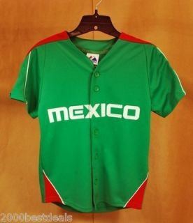 Majestic Mexico Team Baseball Jersey Junior Size Green Red White