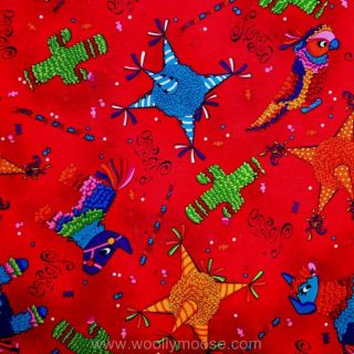 Half Yard Fiesta Pinata Parrot Donkey Bull Cactus Candy Mexican Red