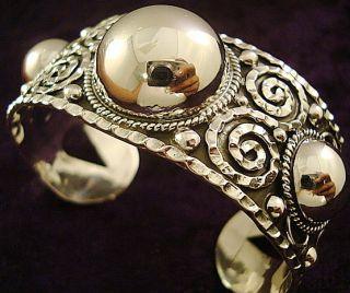 DESIGN TAXCO MEXICAN STERLING SILVER BEADED BEAD CUFF BRACELET MEXICO